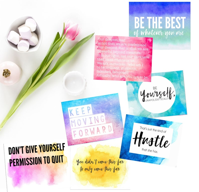Set of 16 Motivational Quote Cards Inspirational Quotes image 0