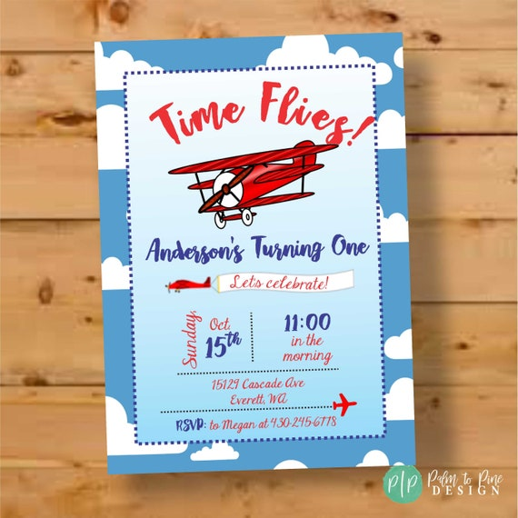 Airplane Birthday Invite Plane Invitation