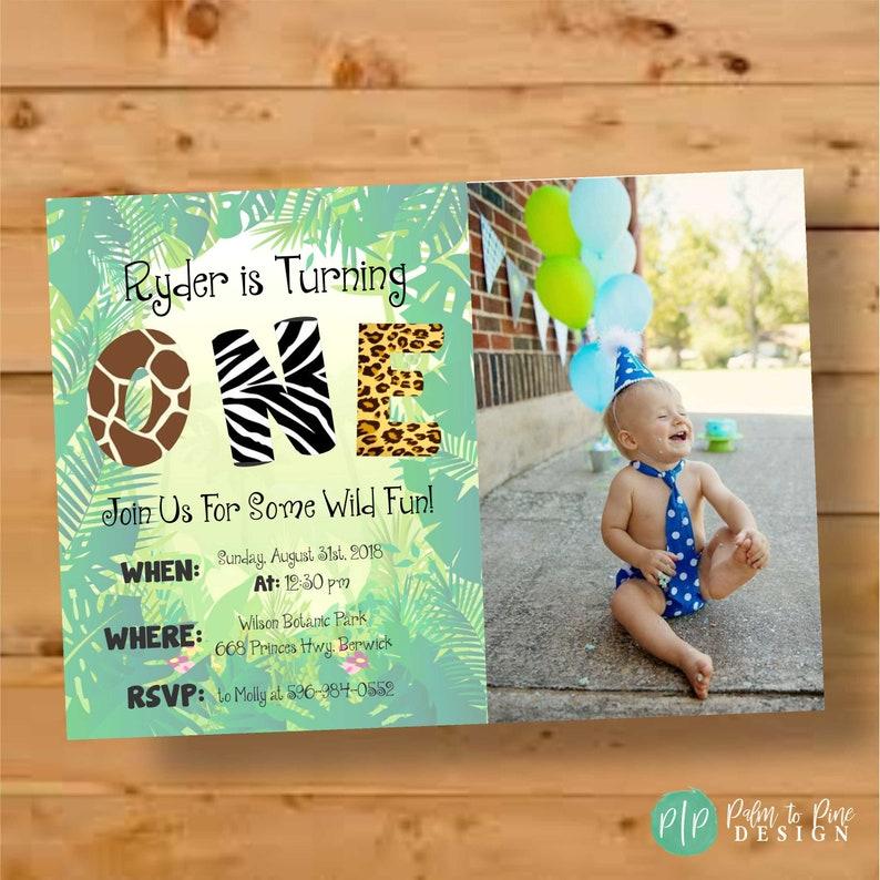 Jungle Themed Birthday Invite Invitation