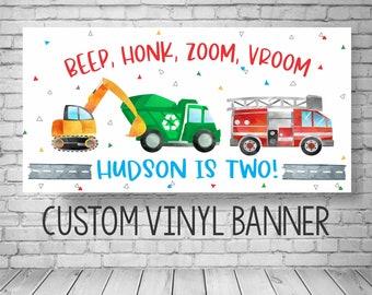 Transportation Birthday Banner, Things that go birthday, transportation birthday decorations, Boy Birthday Banner, Vehicles Birthday Banner