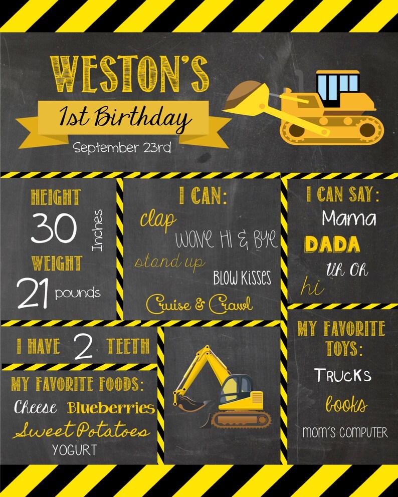 Construction Birthday Decor First Birthday Chalkboard Construction First Birthday Milestone Chalkboard Construction Birthday Decorations