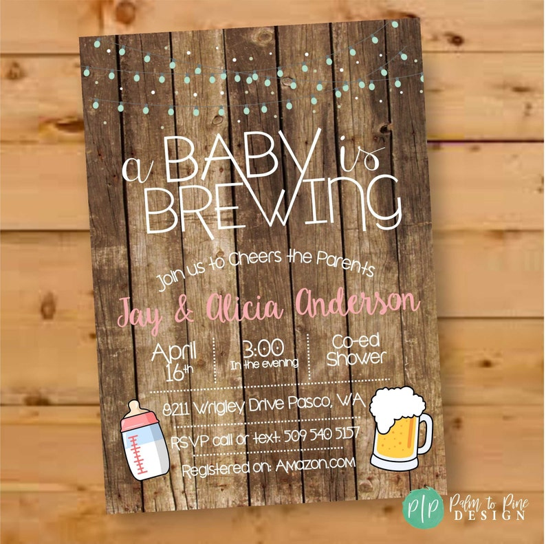 A Baby is Brewing Invitation Beer Baby Shower Invitation image 0