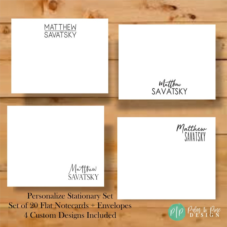 Personalized Stationary Stationary for Men Stationary Cards image 0
