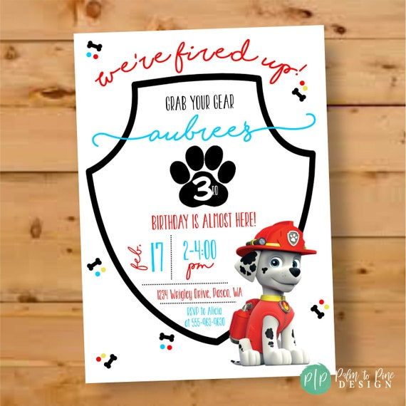 Paw Patrol Birthday Marshall Invitation Invite Rubble Party