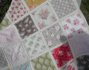Fusion quilt, Baby Blanket, Baby Throw, Patchwork quilt with crochet border, Tilda quilt, Patchwork crochet, Ready to ship