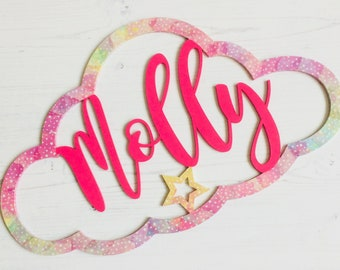 "Personalised cloud ""Molly"" in bright pink and rainbow galaxy star print"