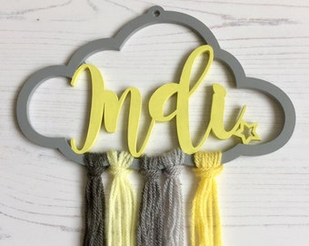"Personalised cloud in grey and yellow tones ""Indi"" 20cm wide with cascading yarn tails"