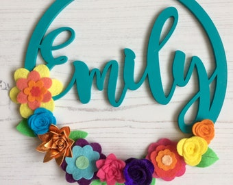 Personalised hoop circle EMILY felt flowers & leaves decorations turquoise rainbow metallic