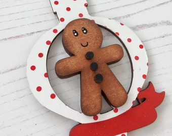Personalised Gingerbread man white and red ornament with banner