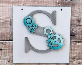 Steampunk initial with personalisation - personalised letter with cogs & gears - your choice of colours, patterns, glitter, etc.