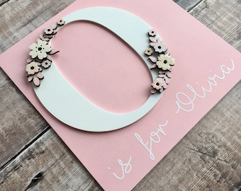 Floral initial with personalisation - personalised letter in 'classic floral' style - your choice of colours, patterns, glitter, etc.