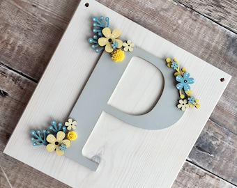 Floral initial with personalisation - personalised letter in 'retro floral' style - your choice of colours, patterns, glitter, etc.
