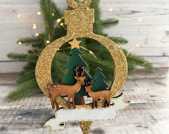Made to order personalised Christmas deer scene ornament two reindeer in front of Christmas trees with banner