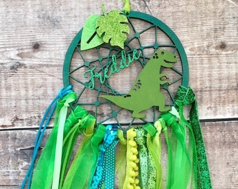 Dinosaur personalised dream catcher in your choice of colours - 3 sizes
