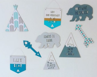 Personalised decorated wooden adventure nursery set with bears, mountains, arrows, teepee