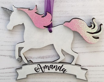Personalised Unicorn banner ornament in any colours, patterns and/or glitter of your choice