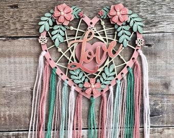 Floral personalised heart dream catcher with initials, names or words in your choice of colours - 3 sizes
