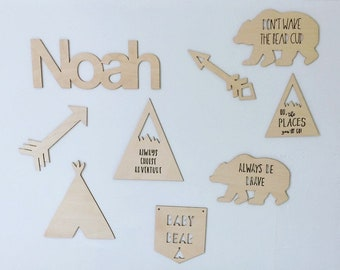 Personalised wooden adventure nursery set with bears, mountains, arrows, teepee