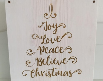Hanging white painted 20cm wooden block with gold seasonal wording: Joy Love Peace Believe Christmas