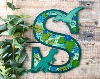 Custom Dinosaur letter jungle - cut out layered decorated initial - personalised 3 sizes hand made to order in any colours
