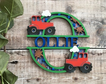 Custom tractor split name letter - cut out layered decorated initial with name/word- personalised 3 sizes handmade to order any colours
