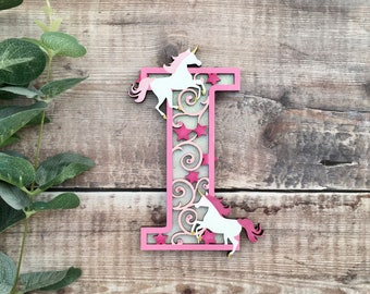 Custom unicorn letter with stars & flourishes - cut out layered decorated initial - personalised 3 sizes hand made to order in any colours