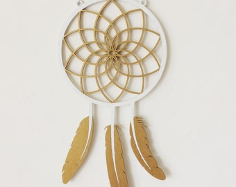 White & gold dream catcher - wooden dreamcatcher hand painted in white and gold - ready to ship