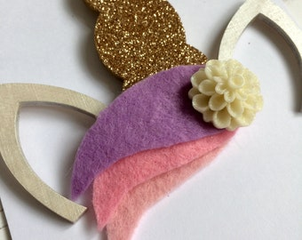 Unicorn ears and gold glitter horn metallic white ears with felt mane glitter flower - hand painted