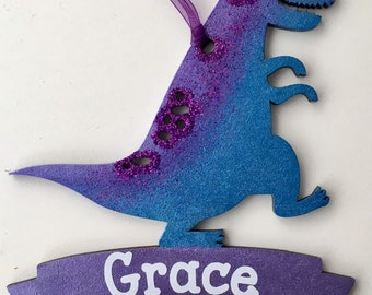 Personalised dinosaur banner ornament in any colours, patterns and/or glitter of your choice