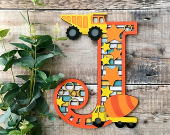 Custom construction letter vehicles dumper truck cut out layered decorated initial - personalised 3 sizes hand made to order in any colours