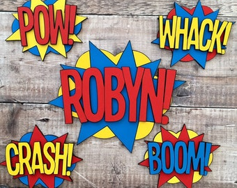 5 personalised comic book super hero signs set - custom name sign & 4 superhero words in your choice of colours, patterns, glit