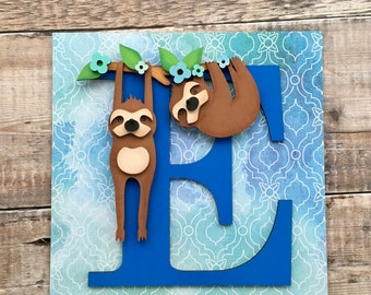 Personalised sloth letter art initial - custom hand made to order in your choice of any colours & style, embellished glitter