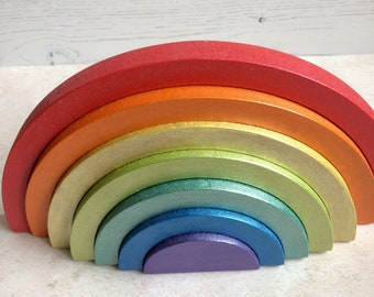 Metallic rainbow 7-piece interlocking wooden stacking rainbow *add personalisation* in bright metallic primary colours