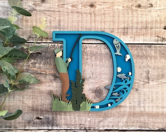 Custom fishing theme letter angler angling - cut out layered decorated initial - personalised 3 sizes hand made to order in any colours
