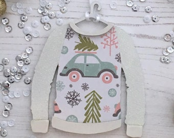 Personalised Christmas jumper ornament: driving home for Christmas car and tree pattern with white glitter arms