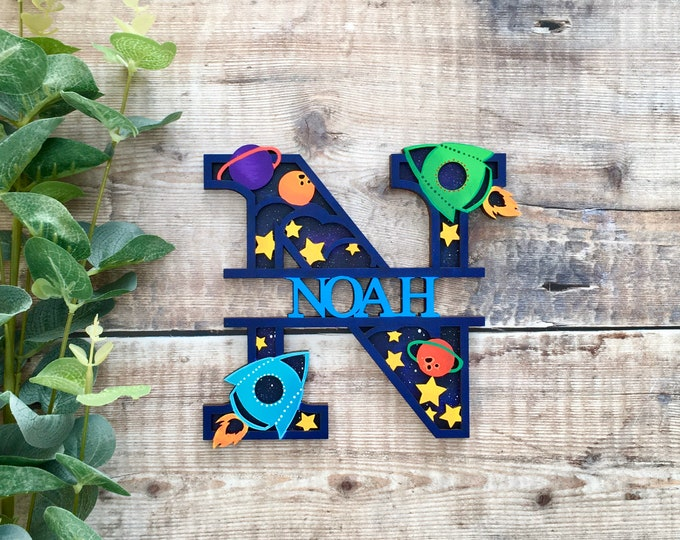 Featured listing image: Custom space rocket split name letter - cut out layered decorated initial with name/word- personalised 3 sizes handmade to order any colours