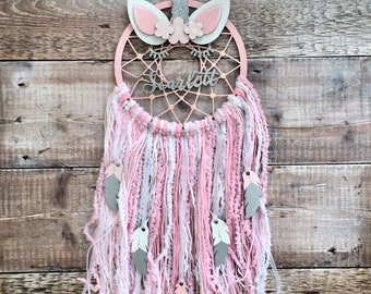 Unicorn personalised dream catcher - sleepy unicorn - choice of 3 sizes any colours, patterns, glitter, etc.