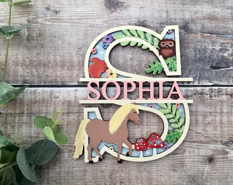 Custom pony horse split name letter - cut out layered decorated initial w/ name/word- personalised 3 sizes handmade to order any colours