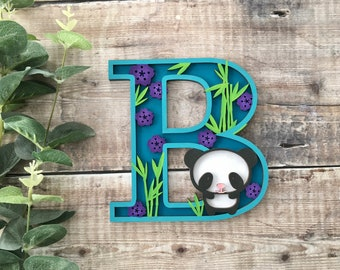 Custom panda letter with bamboo & flowers - cut out layered decorated initial - personalised 3 sizes hand made to order in any colours