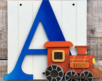 Personalised train letter art initial - custom hand made to order in your choice of any colours & style, embellished glitter