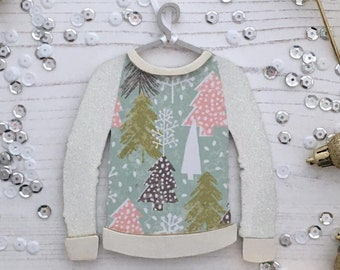 Personalised Christmas jumper ornament: multi coloured Christmas trees with white glitter arms
