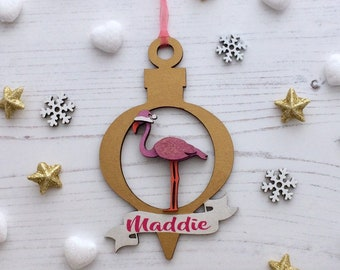 Personalised Flamingo with banner ornament - any colour & style of your choice