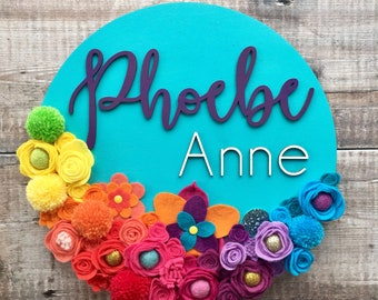 Custom layered 3D name sign with felt flowers - choice of fonts and any colours