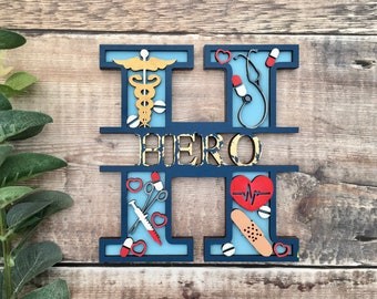 Custom medical hero theme split name letter - cut out layered decorated initial with name/word- personalised 3 sizes handmade to order