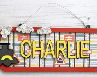 Personalised train street sign - made to order, 40cm wide in any colours, patterns and/or glitter of your choice