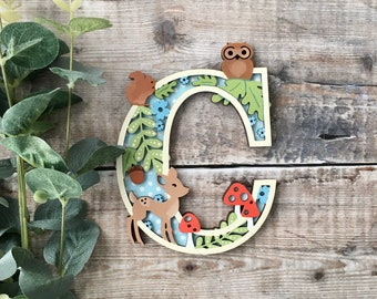 Custom woodland letter fawn deer owl- cut out layered decorated initial - personalised 3 sizes hand made to order in any colours