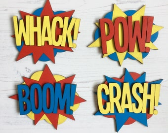 4 Personalised comic book super hero signs - your choice of colours, patterns, glitter - 6 sizes