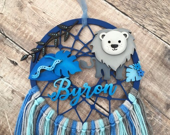 Lion personalised dream catcher in your choice of colours - 3 sizes
