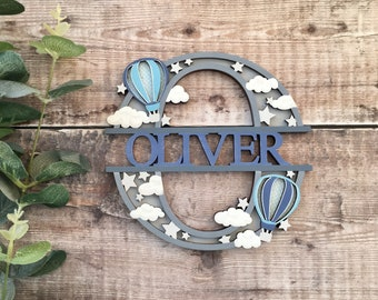 Custom hot air balloon theme split letter - cut out layered decorated initial - personalised 3 sizes hand made to order in any colours