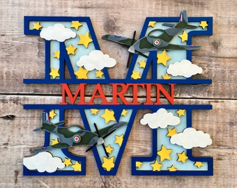 Custom spitfire airplane letter plane - cut out layered decorated initial - personalised 3 sizes hand made to order in any colours